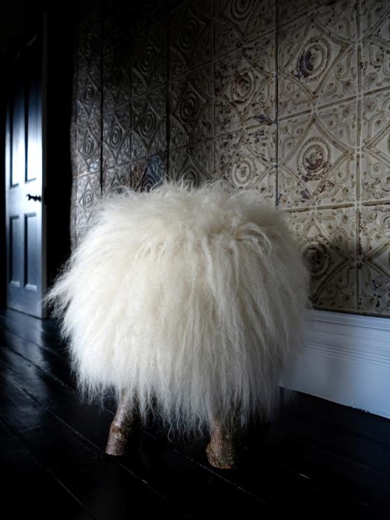 sheep skin stool
